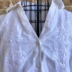 Coldwater Creek 100% Linen White Shirt Top EUC